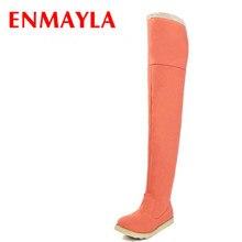 e1f7cd085 ENMAYLA Inverno Sapatos Mulher Sobre as Botas Do Joelho Feminino Flats  Flock Botas Altas Da Coxa