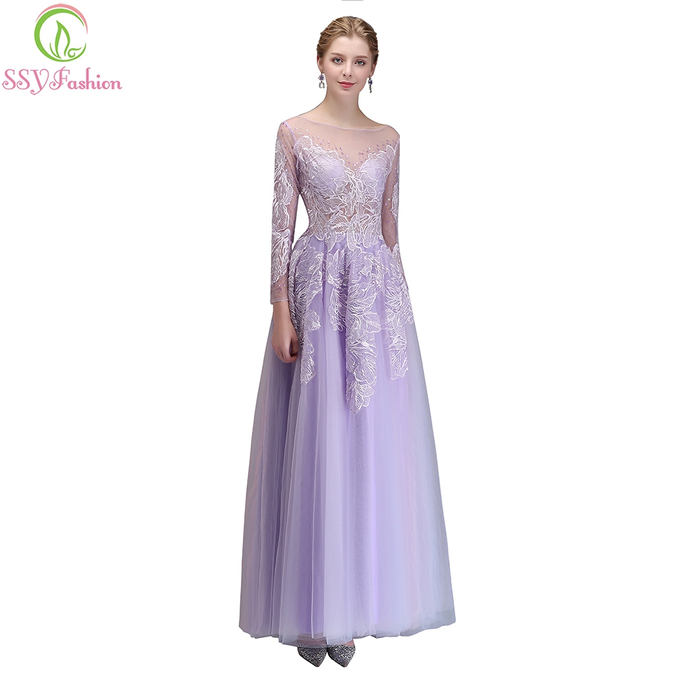 SSYFashion New Banquet Elegant Evening Dress Beautiful Purple Long Sleeved  Lace Embroidery Beading Party Gown Robe De Soiree 2689dc0bf2d3
