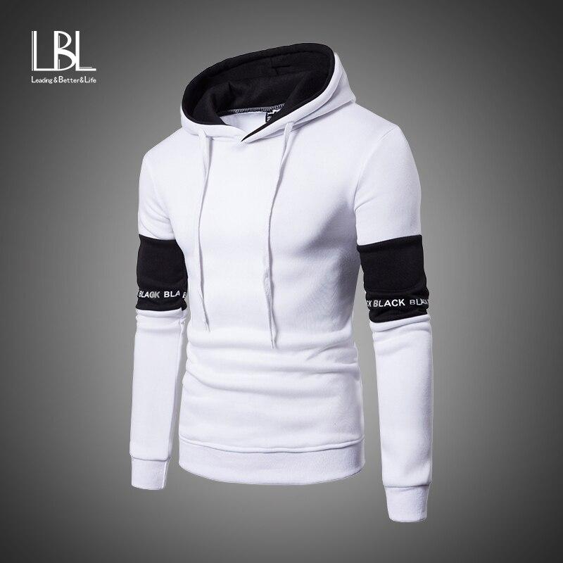 Beiläufige Hoodies Männer Mode Neue Patchwork Mit Kapuze Sweatshirt Mantel Herren Moletom Masculino Mode Hoodies Schlank Sportswear Trainingsanzug