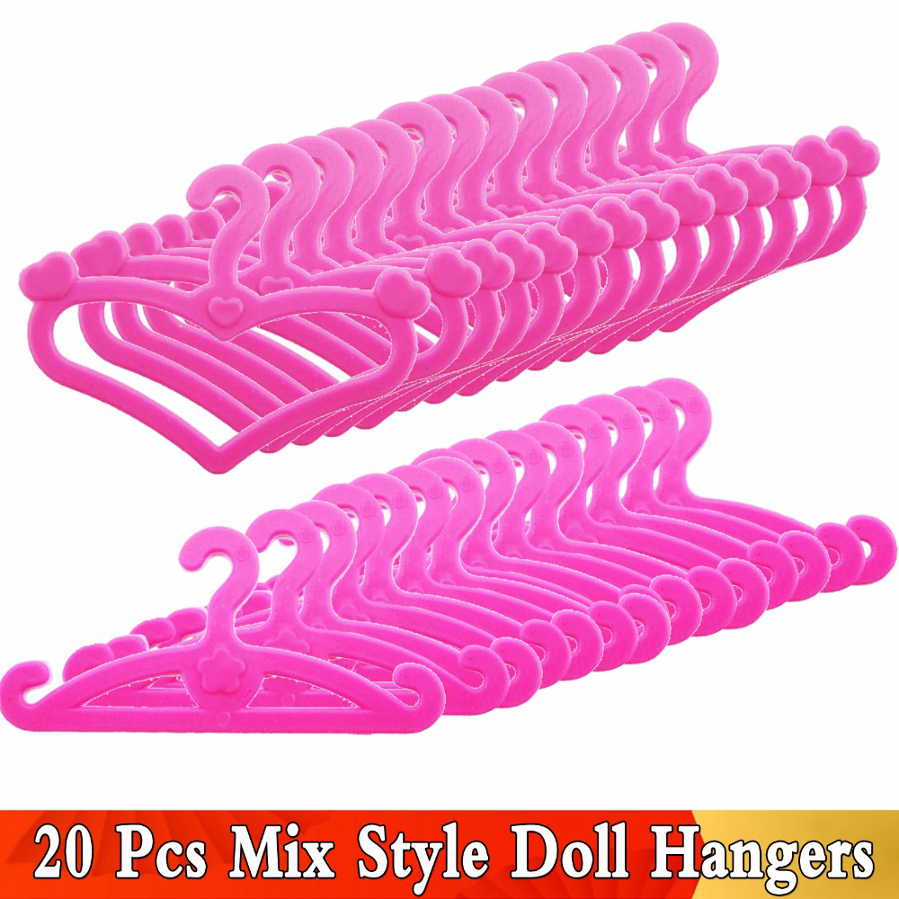 20 Pcs /Lot Pink Mix Style Dolls Hangers Dress Clothes Holder Cute Accessories For Barbie Doll 12'' Pretend Play Girls Toys