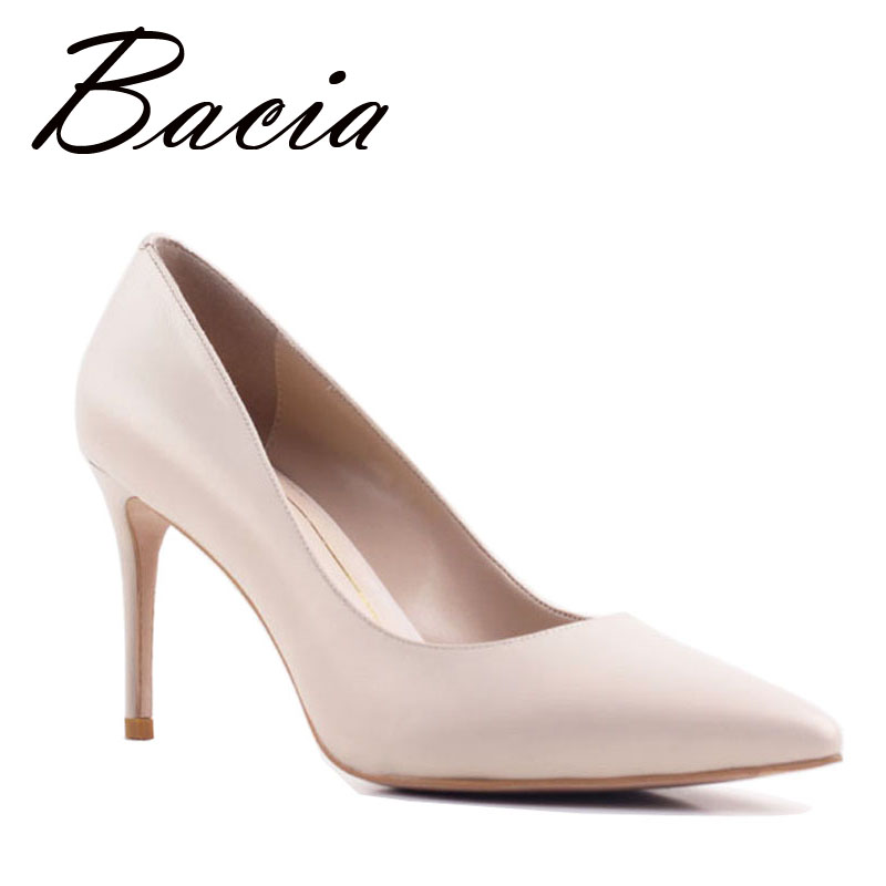 Bacia New Sheep skin High Heels Women Genuine Nutural Leather Pumps Fashion Elegant Wedding Pink Red
