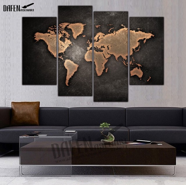 4 panel hd framed painting nostalgic world map wall art picture home 4 panel hd framed painting nostalgic world map wall art picture home decoration for living room gumiabroncs Gallery