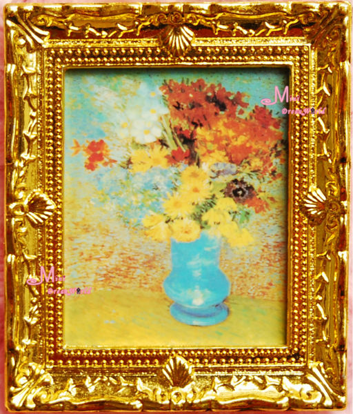 Dollhouse Miniature Classical Gold Framed Art Painting Flowers