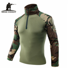 Mege Men Military Army Tactical Combat Shirt Camouflage USMC Soldier Military Style Long Sleeve Battle Shirt Airsoft Clothing