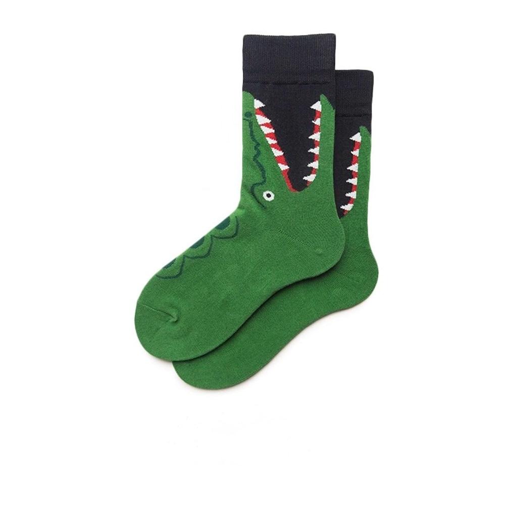 Men's socks Women Cute Cartoon Green Crocodile Socks Fashion Street Trend Animal Pattern Socks Harajuku style Funny happy socks