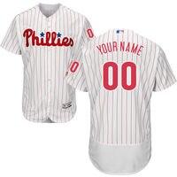 MLB Men's Philadelphia Phillies Baseball Home White/Scarlet Flex Base Authentic Collection Custom Jersey