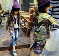 Novo Estilo de Crianças Floral Print Cardigan Meninas de Alta Qualidade Camuflagem Casaco Longo Princesa Jaqueta moda Outono 3-8 T