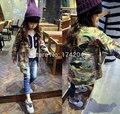 Nuevo Estilo de Los Niños Cardigan Estampado floral de Calidad Superior Niñas Princesa de la moda Otoño Chaqueta de Camuflaje Chaqueta Larga 3-8 T