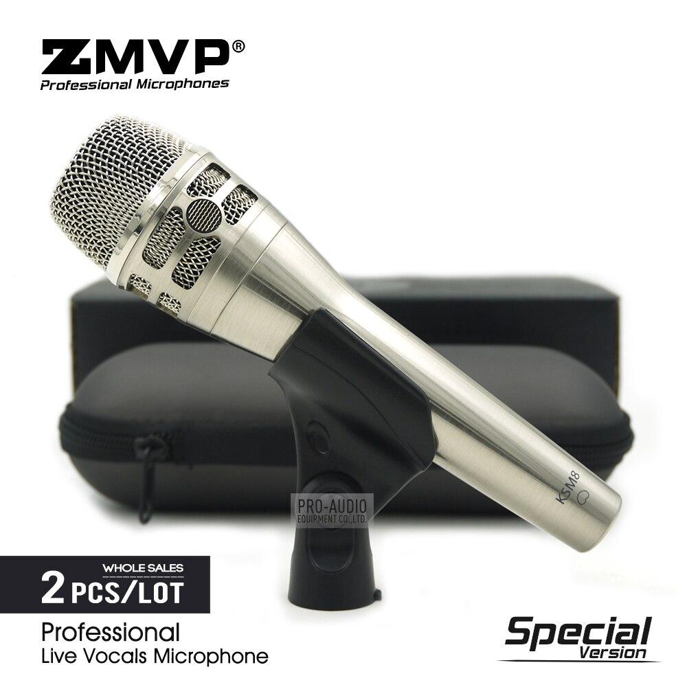 2 pièces édition spéciale chant en direct professionnel KSM8N Nickel Microphone dynamique karaoké micro de Performance de scène Super cardioïde