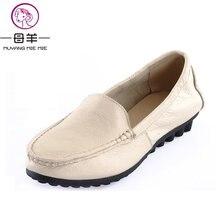 a680cd00e MUYANG Marcas Chinesas mulheres sapatas lisas de couro genuíno Primeira  camada de couro casual Cozy sapatos únicas mulheres flat.