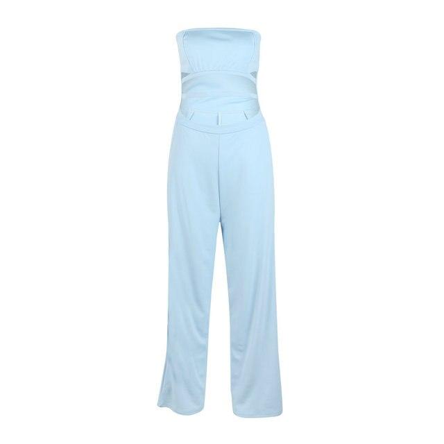 Fashion Cut Out Women Sexy Jumpsuit Summer Office Lady Strapless 2019 Long Pants Pocket Bodycon Jumpsuits Romper Plus Size M0596 6
