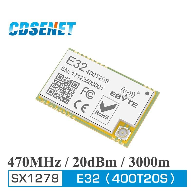 433 Mhz LoRa SX1278 470 MHz 100 MW largo alcance 3000 m rf módulo CDSENET E32-400T20S 20dBm iot transmisor y receptor conector IPEX