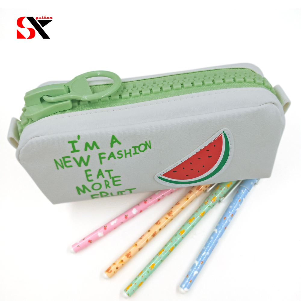 Big zipper Fruit pencil case Canvas school pencil bag Stationery Storage large bag pen box Office supplies gift bags korean big zipper pencil bag large capacity canvas pencil case school stationery pen storage box material escolar supplies