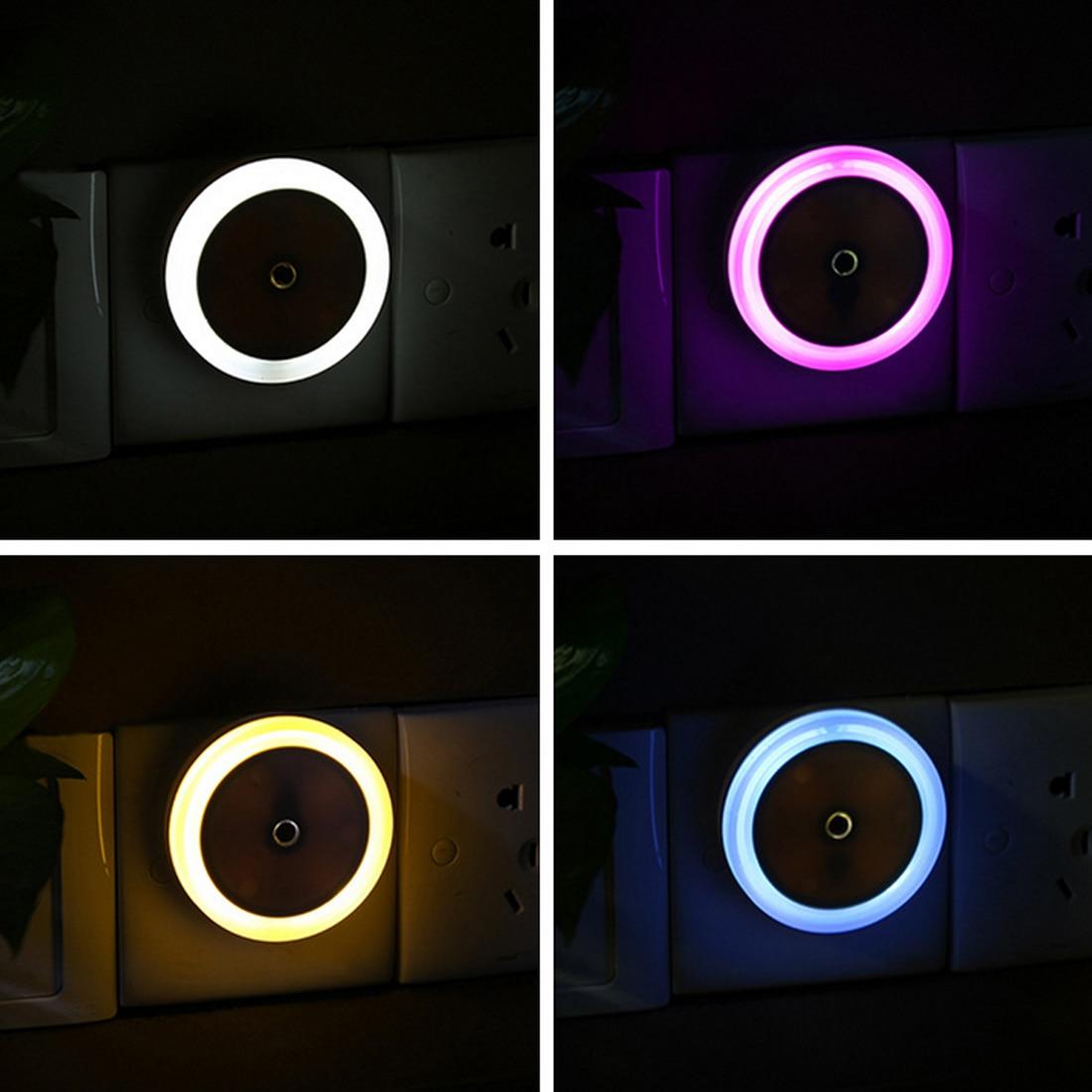1 St Auto Led Licht Inductie Sensor Controle Slaapkamer Night Lights Bed Lamp Ronde Vorm 110-220 V 4 Kleuren Us Plug