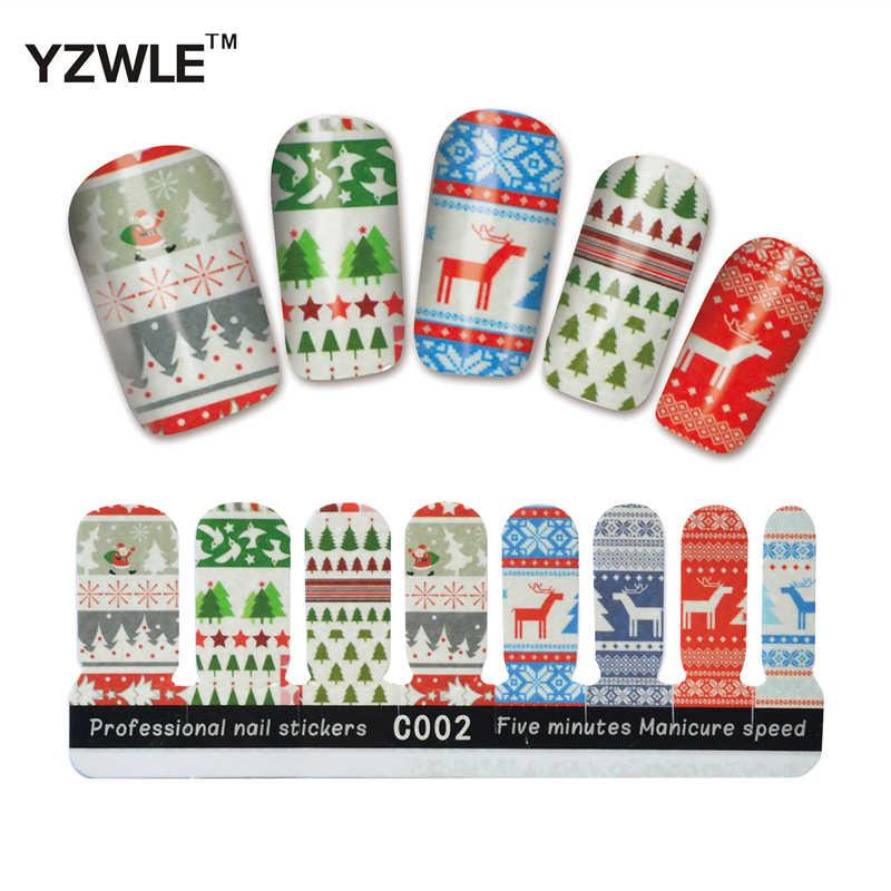 YZWLE 1 hoja DIY cinco minutos velocidad de la manicura pegatinas finas árboles encantadores critmas adhesivos para uñas para Navidad (YZW-C002)