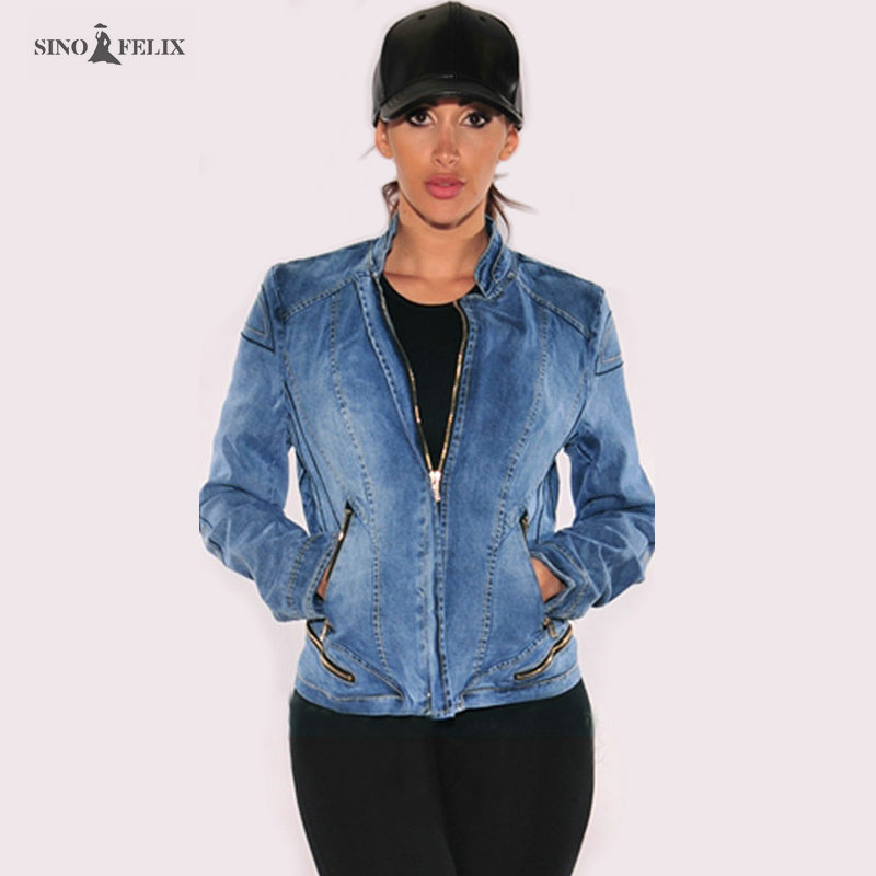 2017 new Fashion women's denim jacket Zipper Popular baseball jacket stretch style women Coats free shipping TOP119