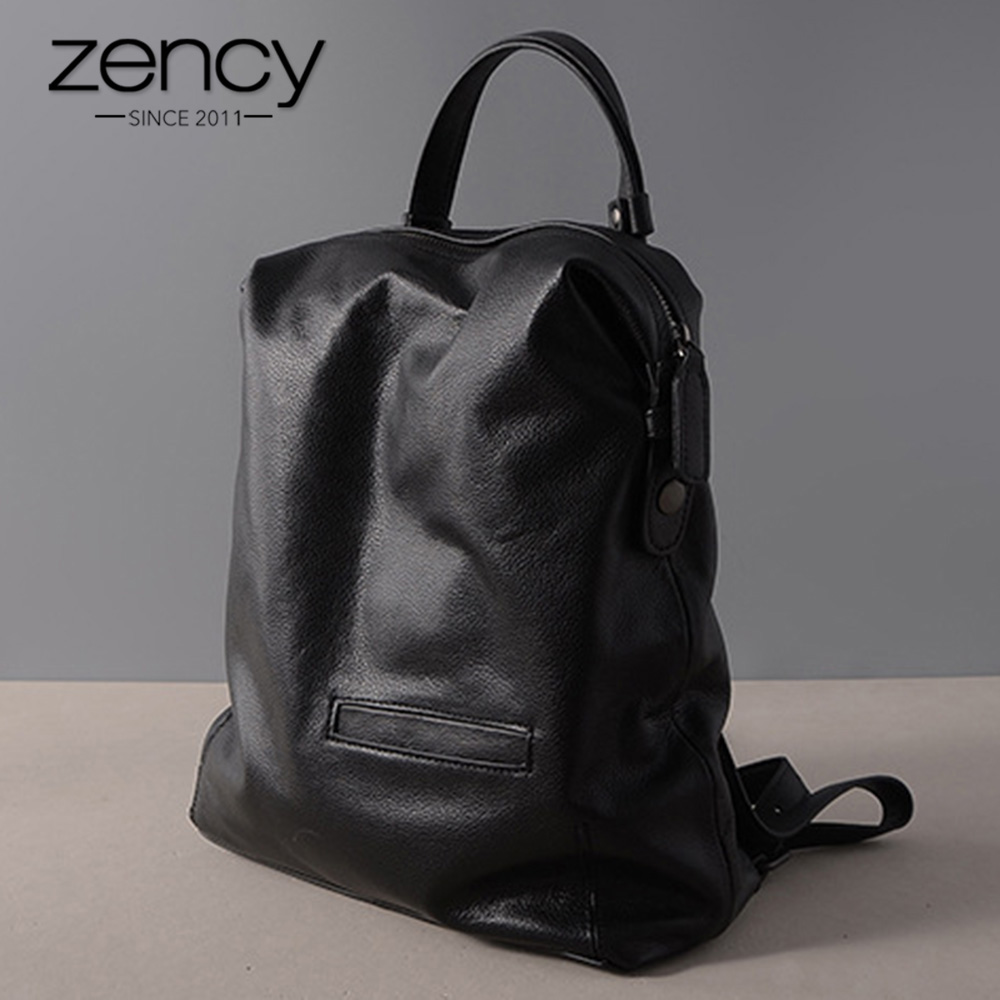 Zency Black Fashion Women Backpack 100% Real Cow Genuine Leather Schoolbag For Girl Female Travel Bag Large Laptop Knapsack zency genuine leather women backpack fashion brand real cow skin backpacks young girl school bags knapsack rucksack