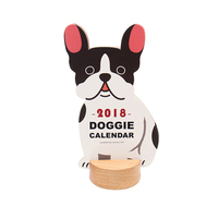 2018 Creative Dogs Wooden Seat Desk Calendar Small Table Calendar Stand Office Ornaments Table Planner Agenda