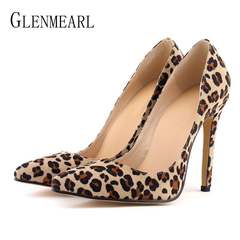 Women Pumps Leopard Shoes High Heels Sexy Pointed Toes Wedding Shoes Woman Stiletto Heel Office Lady Dress Shoes Casual Evening women wedding shoes flat heel round toes plus size bride shoes lady female sweet lace pearls proms dress evening party shoes