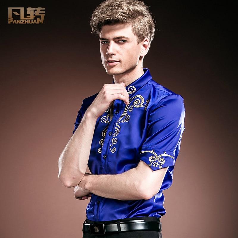 Fanzhuan Free Shipping custom court fashion casual men's male summer Slim blue half sleeve shirt 14349 in stock personality 5XL