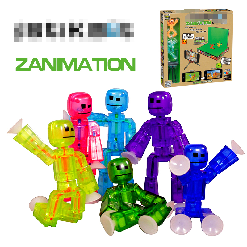 Manual Robot action figure Toy Sucker Sticky Robot Z Screen Animation Studio Action Figure Toy Kids Game Toys for Children 48pcs lot action figures toy stikeez sucker kids silicon toys minifigures capsule children gift