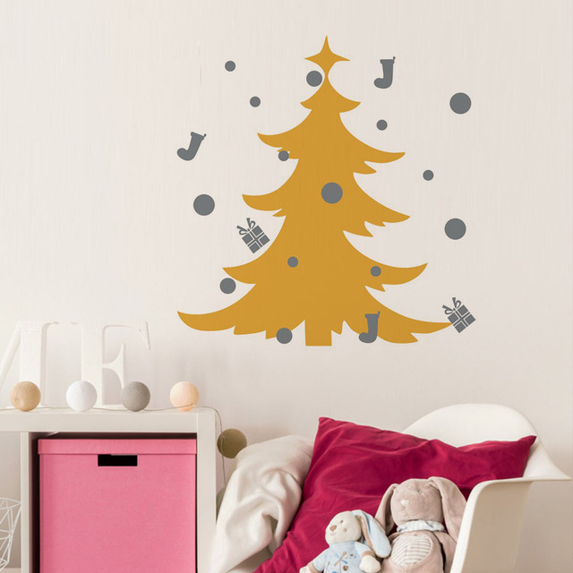Festival christmas tree diy wall sticker christmas home decoration accessories store window wall art decals wallpaper