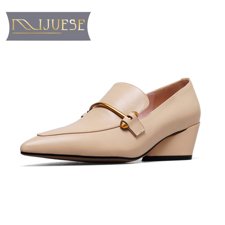 MLJUESE 2019 women flats cow leather brown color Metal pointed toe soft ballet flats shoes comfortable office shoes size 33-43