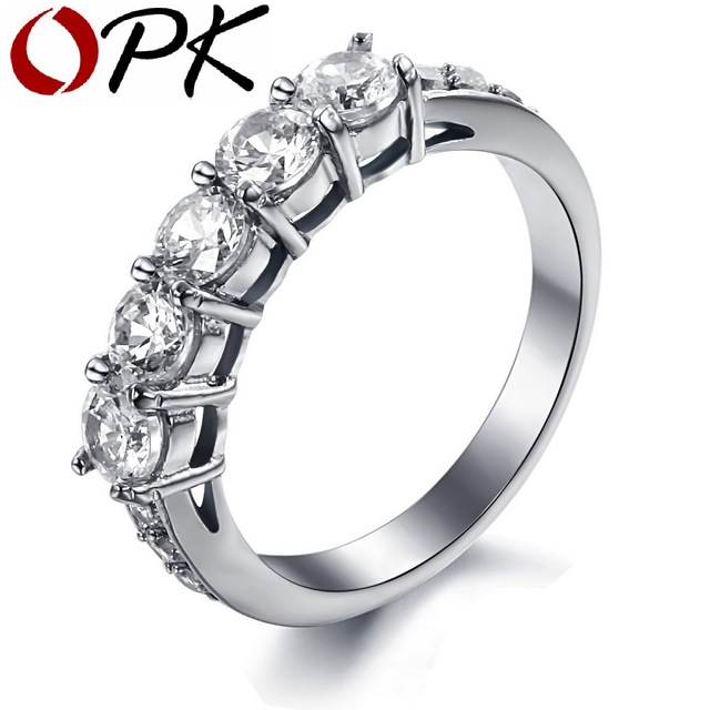 OPK JEWELRY AAA Cubic Zirconia Wedding Bands Titanium Steel Couple Ring Decorate Clear Rhinestone 7645