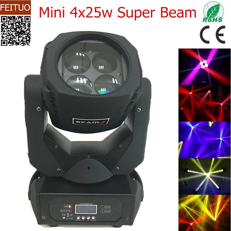 free shipping 8pcs/lot Led Strong Beam 4x25w Mini Rotation Lens Moving Head Wash Light Stage DJ Color Change Show Disco Lighting