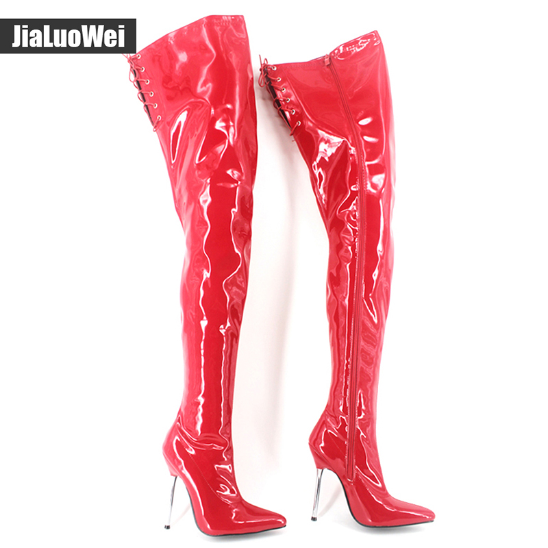 Women Sexy Fetish 12cm Ultra High Heel Boots Metal Heels Pu Leather Pointed Toe stiletto Over the Knee Crotch high Boots new extreme high heel 20cm heel pointed toe sexy patent leather heel needle metallic sexy fetish inseam boots a 027