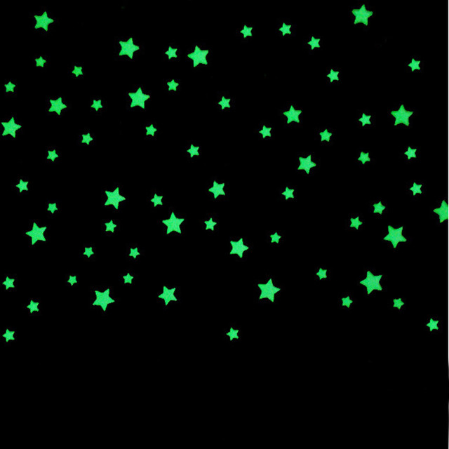 Glow Stars For Ceiling: 100PCs Wall Stickers For Kids Rooms Bedroom Fluorescent