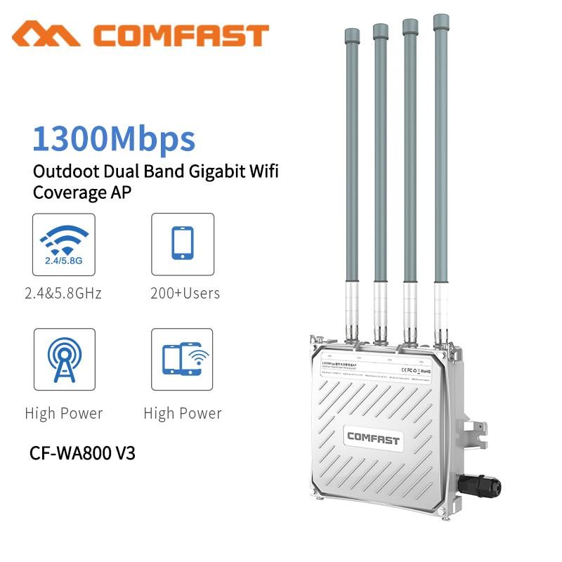 Comfast 1300 Mbps double bande 5.8G extérieur AP 4 * 8dBi antenne WiFi couverture Base Station routeur WiFi Signal Hotspot amplificateur répéteur