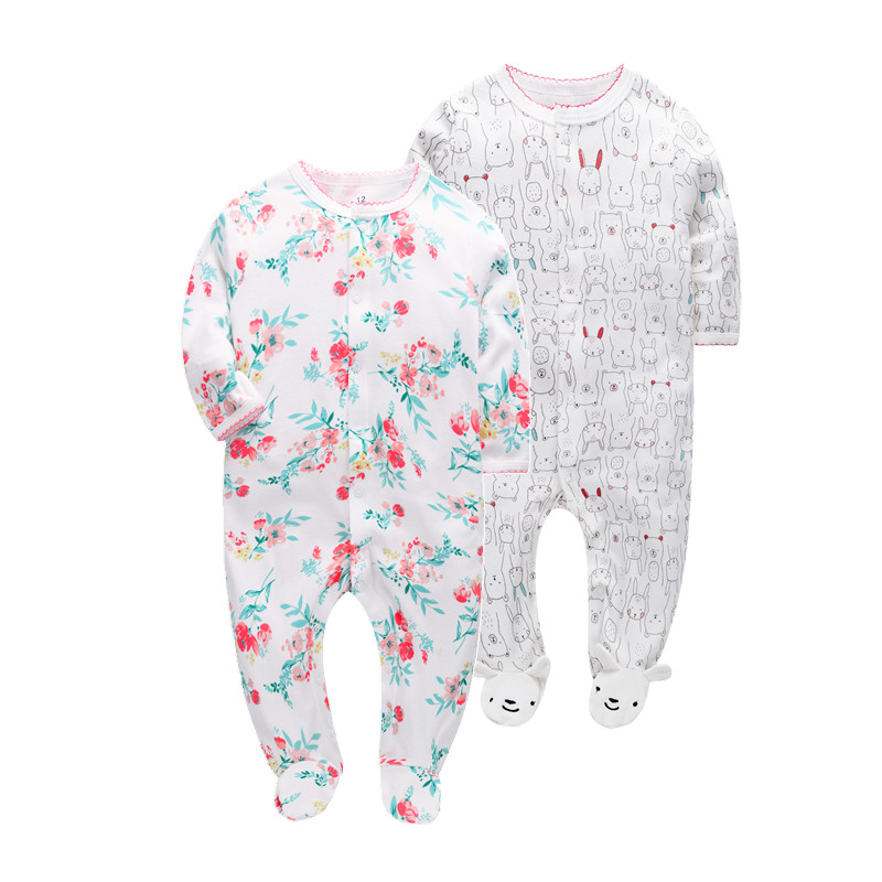 2 pcs/pack 2019 Super Soft Baby   Rompers   cotton Overalls Newborn Clothes Long Sleeve Roupas de beb Infant kids girl clothing