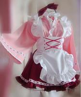 Original Design Cute Girls Japanese Maid Dress Cosplay Kimono Witch Style Pink Lolita Costume