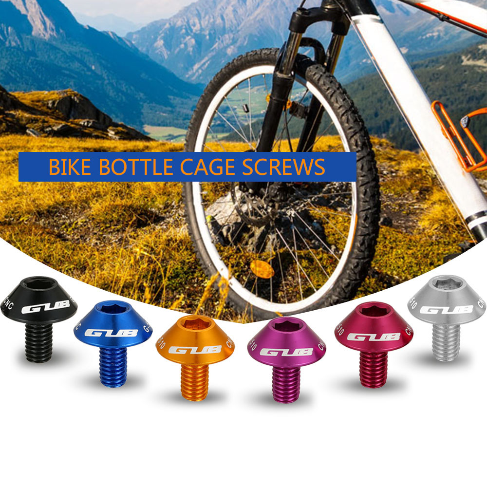 2Pcs Aluminum Alloy Bike Bicycle Water Bottle Cage Holder Bolts Screw M5x12mm