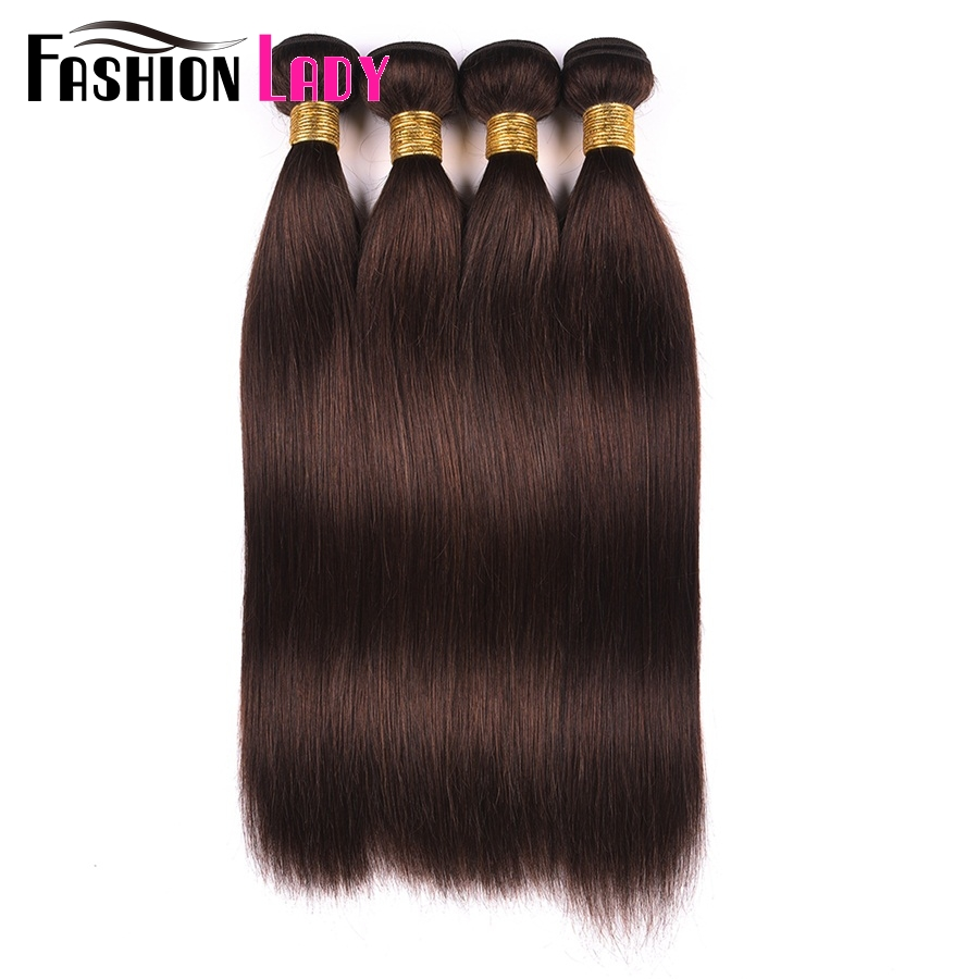 Fashion Lady Pre-Colored Brazilian Hair Straight Hair Bundles 4 Bundles Dark Brown Color #2 Human Hair Extensions Non-Remy