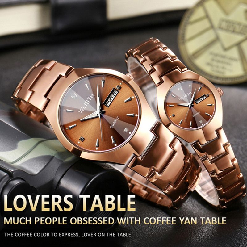 WLISTH Lovers Watch Tungsten Steel Rose Women Couple Watches Chinese-English Calendar Quartz Relogio Waterproof Couple Watches