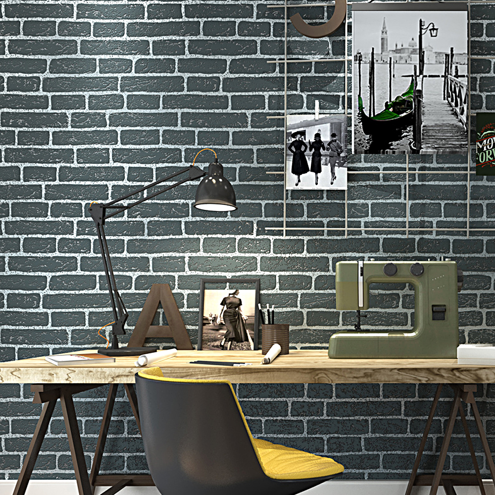 Grey,Orange,Red,White Brick Wallpaper Modern Embossed Texture Wall Paper Roll Wallcovering