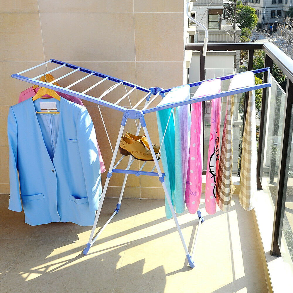 Wing Shape Foldable Laundry Clothes Storage Drying Rack Airer Portable Dryer Hanger Organizer Pole Indoor outdoor Balcony DQ0820 - 4