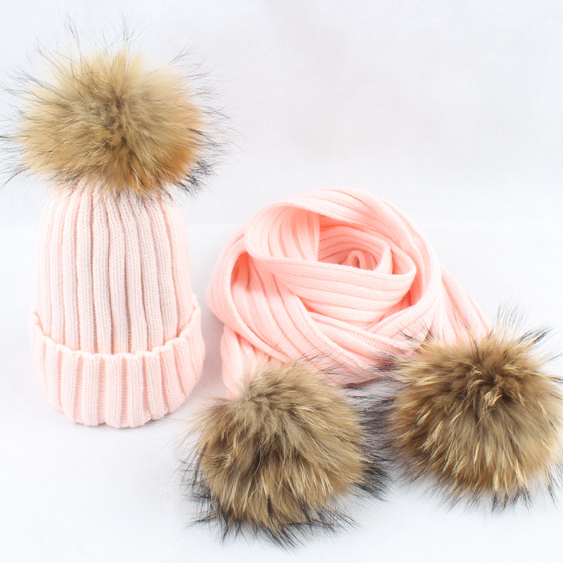 New Women Winter Hats And Scarf Sets Warm Cashmere Knitted Cap Scarf For Girls High Quality Fur Pompoms Hats Lady Beanie Scarves