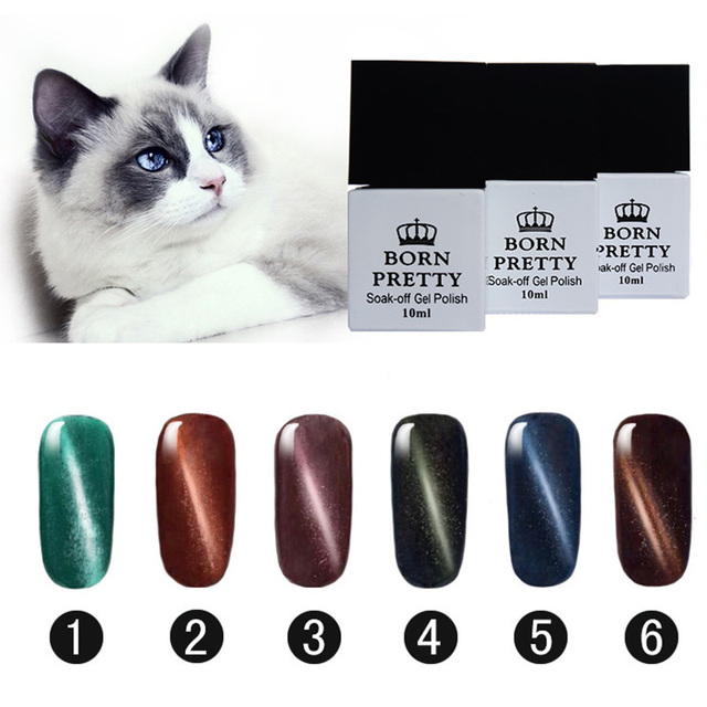 BORN PRETTY Magnetic Cat Eye Gel Soak Off UV Gel Polish 6 Bottles 10ml 1-6 No Black Base Needed