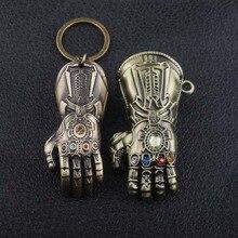 SG New Fashion Movie Thanos 3D Model Infinite Power Glove Gauntlet Keychains Pendants Avengers 3 Infinity War Men Keyring Gift