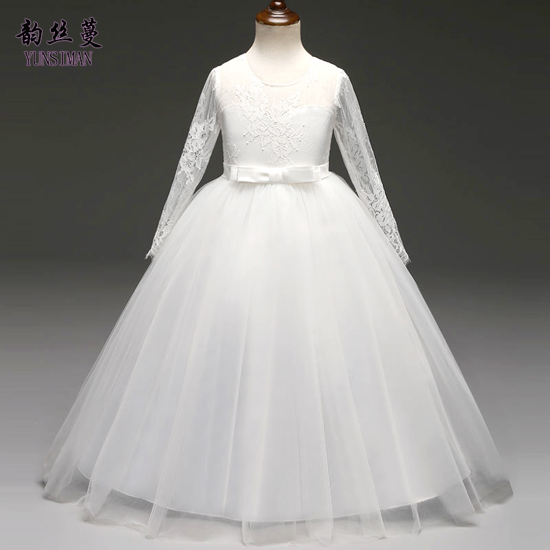 Girls Dresses for Party and Wedding Size 6 8 10 to 12 14 Years Baby Long Sleeve Dress White Lace Dress Girls Princess Dress 2K25 girls princess dress summer new sleeveless for 6 7 8 9 10 11 12 13 14 15 16 years child brand wedding party long tutu full dress