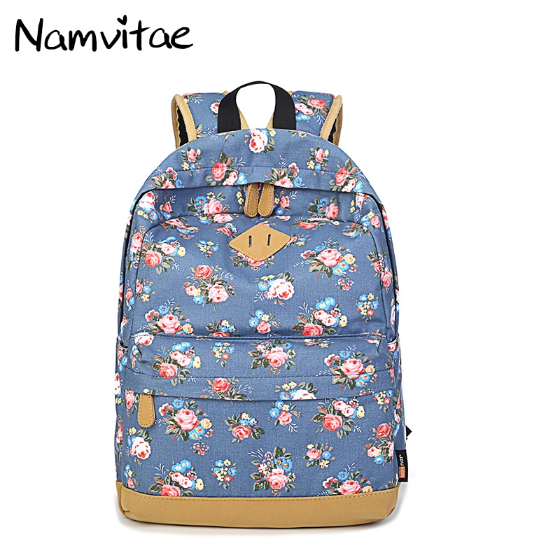 Fashion Women Canvas Backpacks Flowers Printed Girls School Bags Large Capacity Casual Travel Backpack Lightweight Women Bags
