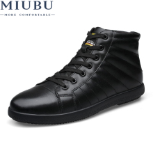 MIUBU Brand Big Size Men Shoes Fashion Winter Leather Ankle Boots Genuine Leather Mens Cowboy Boots Male Moccasin Boots цены онлайн