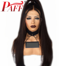 PAFF Silky Straight Full Lace Human Hair Wig Peruvian Remy Hair 150% Density Natural Color Hair Wig With Baby Hair Middle Part