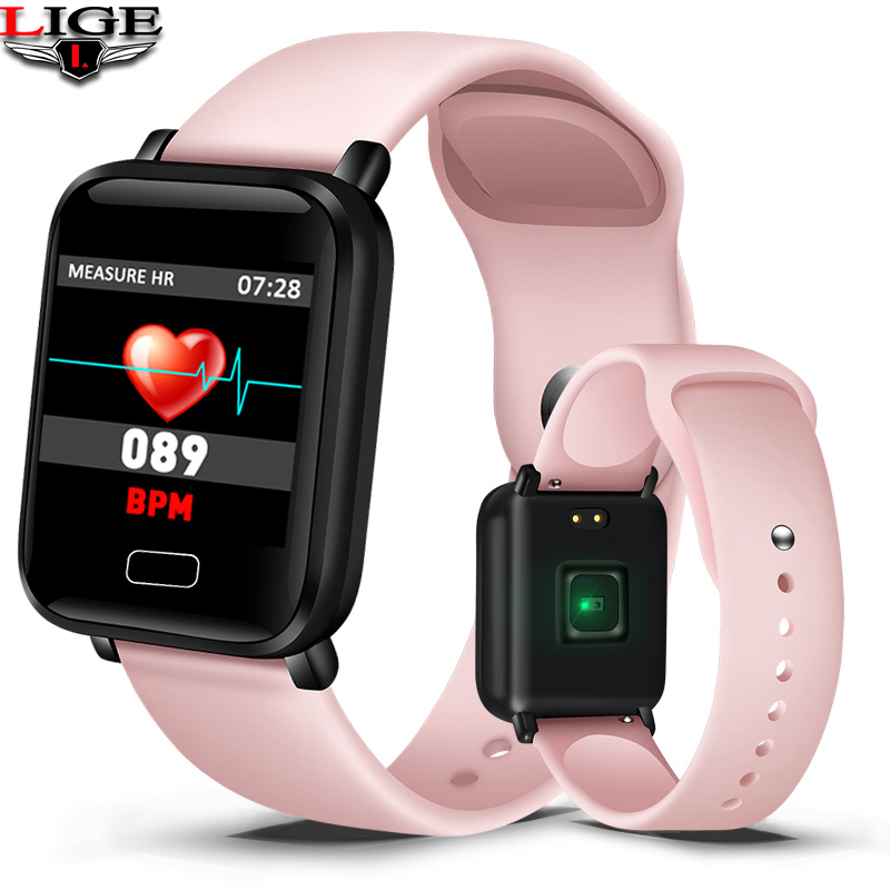 LIGE Pink Smart Bracelet Waterproof Fitness Watch Blood Pressure Heart Rate Monitoring Pedometer Smart Watch Men For Android IOS