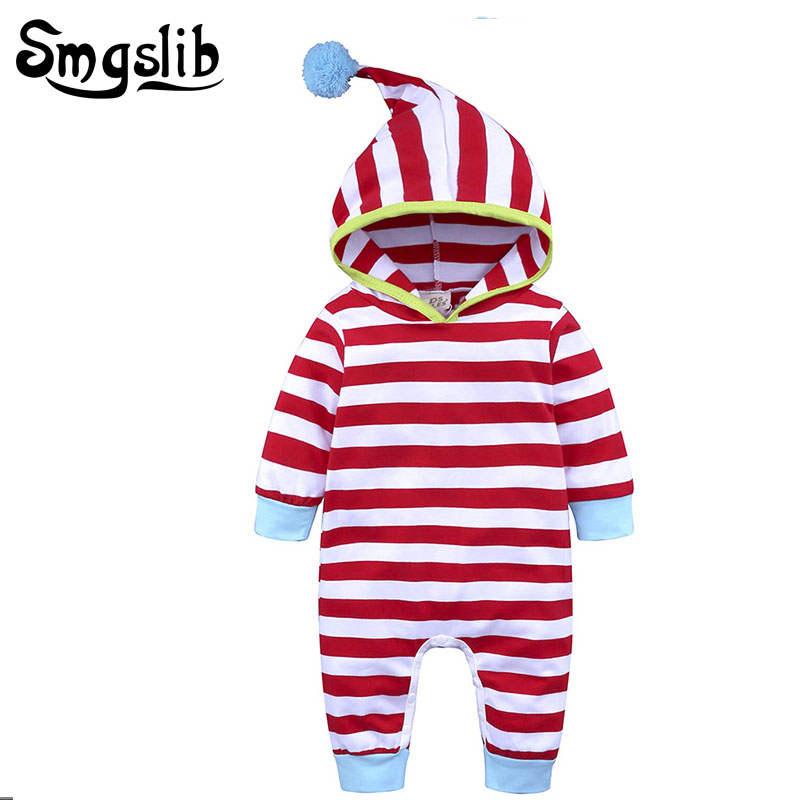 Baby rompers long sleeve hooded Infant Baby Boys Girls Striped Romper overalls baby pajamas newborn onesie 0 to 24 months