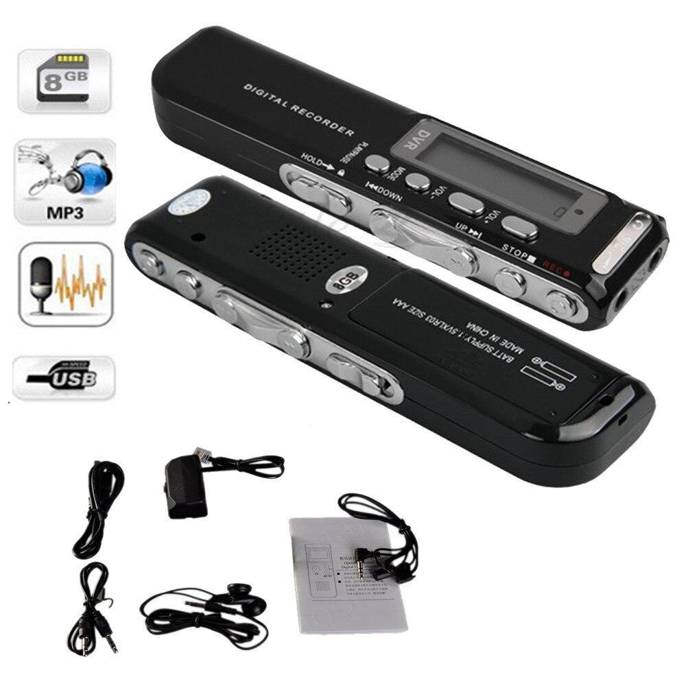 8 GB Digital Voice Recorder Stimme Aktiviert USB Pen Digital Audio Voice Recorder Mp3 player Diktiergerät Schwarz gravador de voz