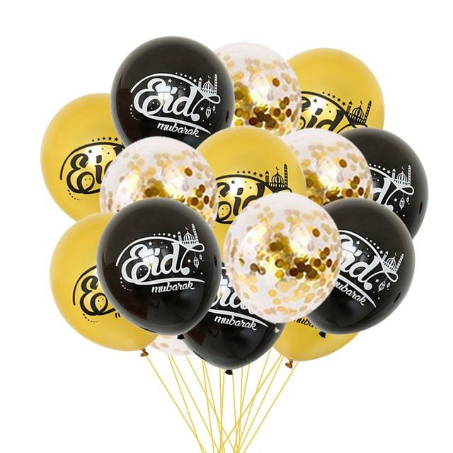 2019 Ramadan Decoration Gold Latex Balloons Confetti Balloon for Eid Mubarak Hajj Ramadan Party Decor Muslim Event Party Favors 5